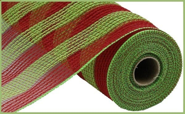 "10.5""X10yd Faux Jute/Pp Small Stripe Red/Fresh Green"