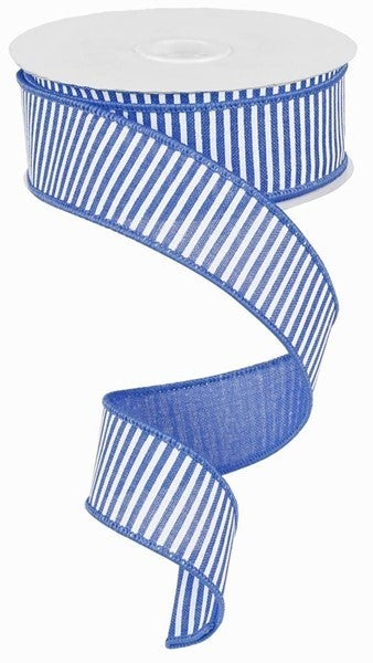 "1.5""X10yd Horizontal Stripes/Royal Blue/White"