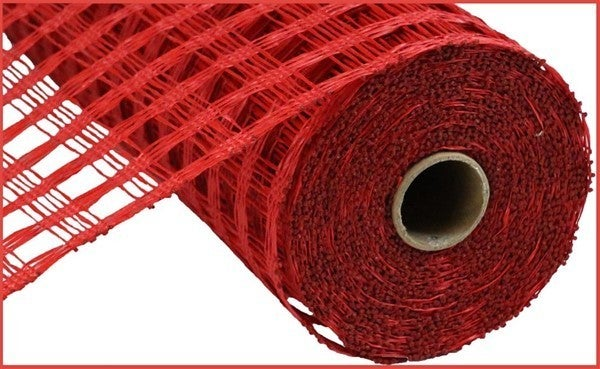 "10""X10yd Poly Burlap Check Mesh Red"