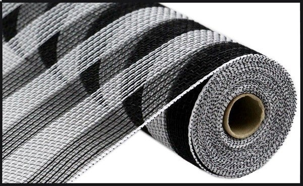 "10.5""X10yd Faux Jute/Pp Small Stripe Black/White"