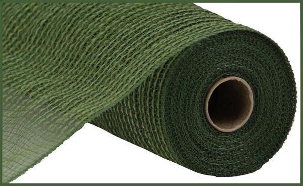 """10.5""""X10yd Faux Jute/Pp Stripe Moss Green"""