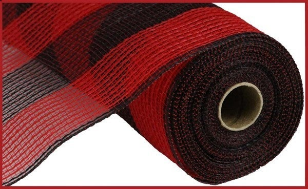 """10.5""""X10yd Faux Jute/Pp Wide Stripe Red/Black"""