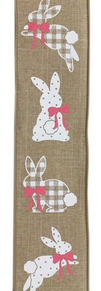 "2.5""X10yd Patterned Bunnies On Royal Light Beige"