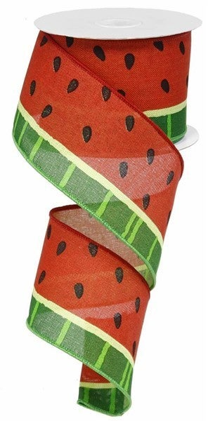 "2.5""X10yd Bold Watermelon On Royal Red/Green/Black"