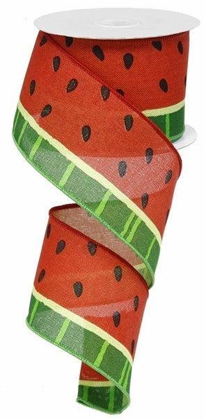 "2.5""X10yd Bold Watermelon On Royal Red/Green/Black"