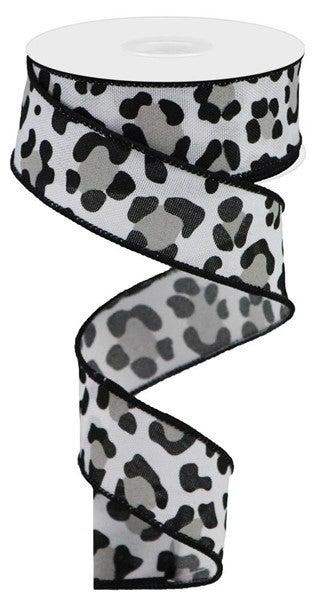"1.5""X10yd Leopard Print/Faux Ryl White/Black/Grey"