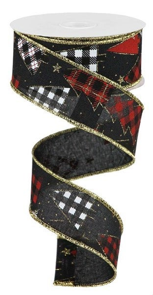"1.5""X10yd Plaid Trees On Royal Color: Black/Red/Gold/White"