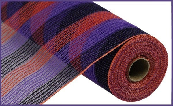 "10.5""X10yd Pp/Faux Jute Small Stripe Purple,Orange/Black"