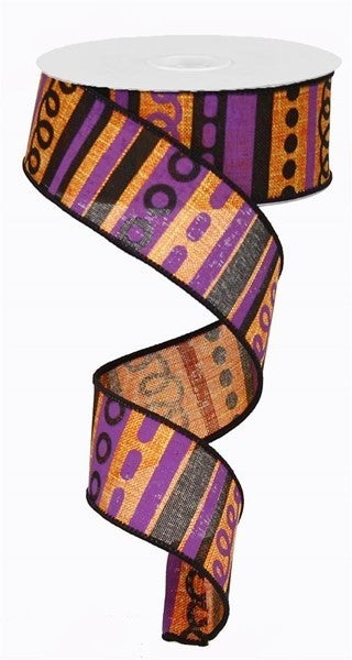 "1.5""X10yd Loopy Stripes On Royal Color: Orange/Purple/Black"