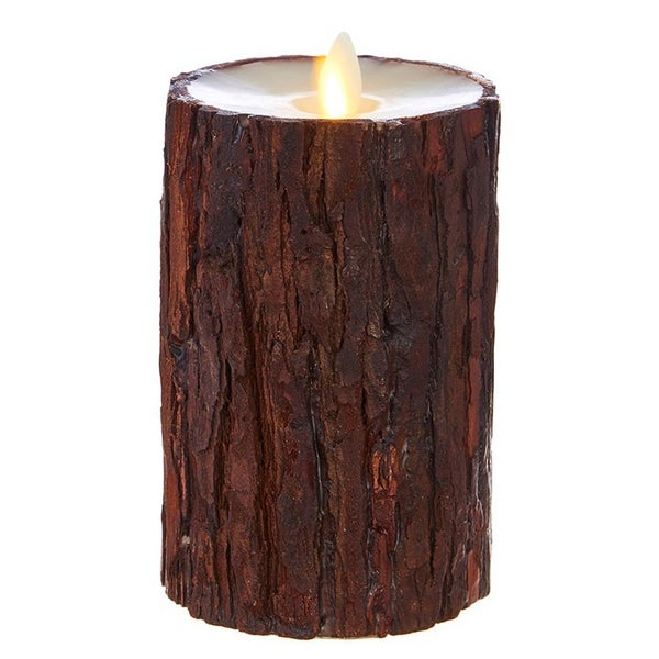 "3.5""X6"" Moving Flame Cedar Wrapped Pillar Candle"