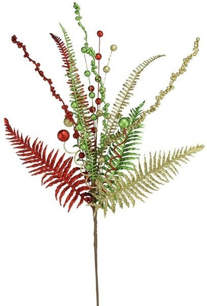 "29""L Glittered Fern/Ball Spray Red/Lime/Gold"