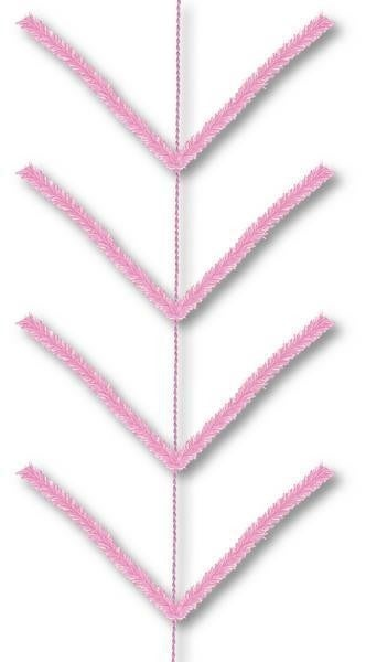 9' Pencil Work Garland X22 Ties Pink