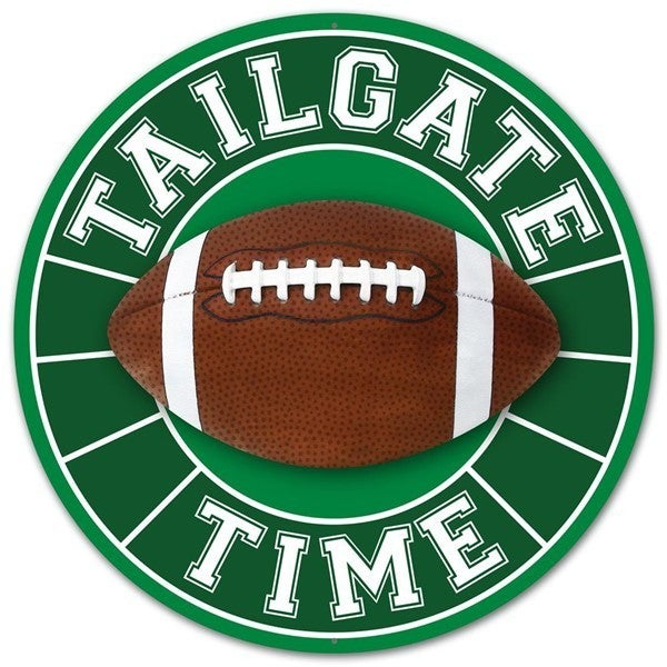 """12""""Dia Tailgate Time Football Sign"""
