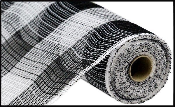 "10.5""X10yd Fabric Mesh Faux Jute/Pp Large Check Black/white"
