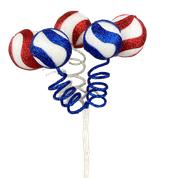 Swirl Ball Pick x 5 H16  Red/white/Blue