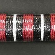 "Red Fabric Black Metallic White Striped Mesh 10""x10yd"