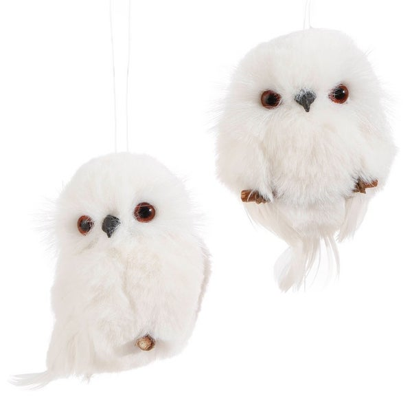 "4.25"" WHITE OWL ORNAMENT Set of 2"