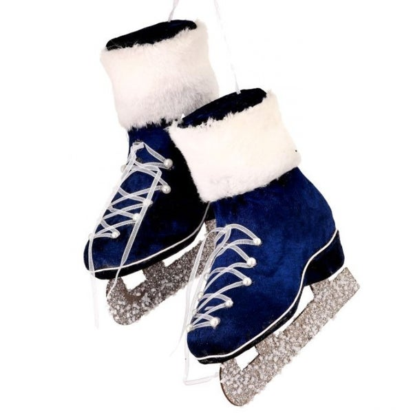"5"" FABRIC PAIR OF SKATES ORNAMENT (BLUE WHITE)"
