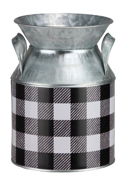 "7'H X 5""Dia Galvanized Check Milk Can Black/White/Galvanized"