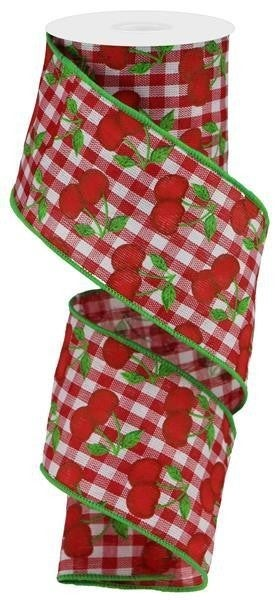 """2.5""""X10yd Cherries On Gingham Check Red/White/Green"""