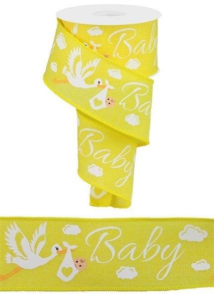 "2.5""X10yd Storks On Royal Yellow"