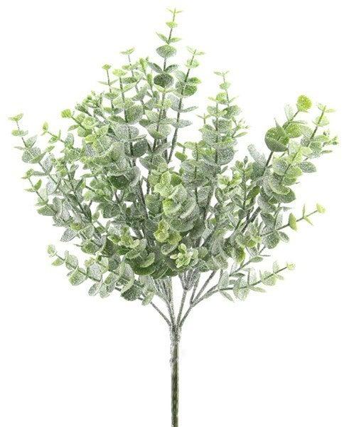 "14""H Plastic Icy Eucalyptus Bush"