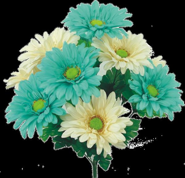 """Satin Gerber Daisy bush x 10, 19""""H"""