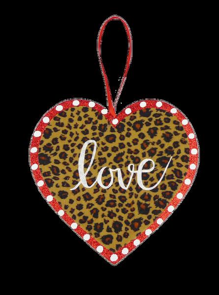 Orn Heart Love W8xH8 Cheetah