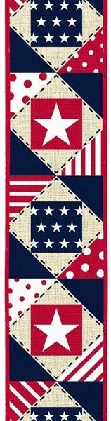 "2.5""X10yd Patriotic Patchwork/Royal Cream"