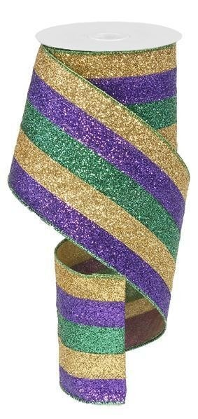 "4""X10yd 5 In 1 Glitter Stripe Wire Edge Mardi Gras"