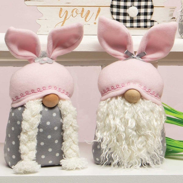 BUTTON AND BOWS BUNNY GNOME WITH PINK BUNNY EARS, WOOD NOSE