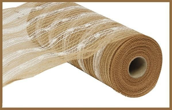 "10.5""X10yd Poly/Jute/Snowball Mesh Natural/White"