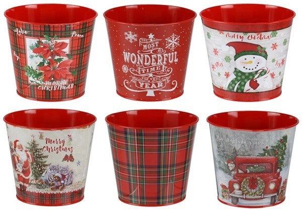 "6.875""DIA X 5.5""H CHRISTMAS TIN POT Set of 6"