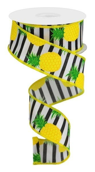 "1.5""X10yd Pineapple Stripe White/Yellow/Black"