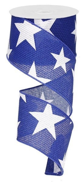 "2.5""X10yd Large Stars On Cross Royal White/Navy"