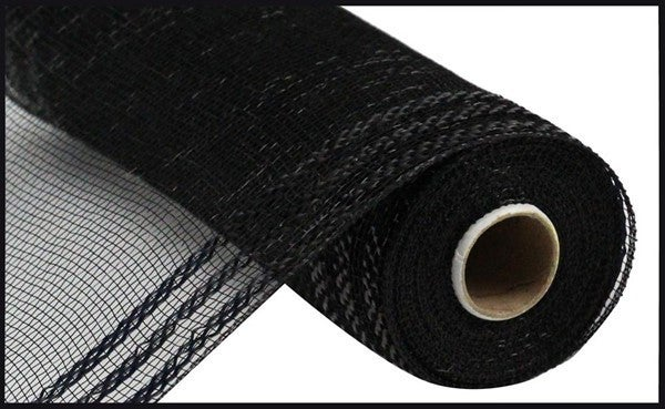 "10.25""X10yd Border Stripe Metallic Mesh Black/W/Black Foil"