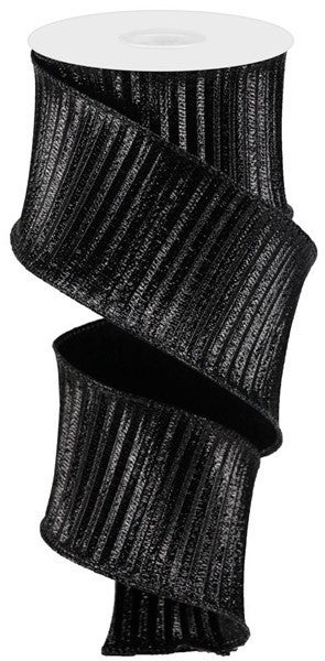 "2.5""X5yd Pleated Woven Metallic Black"