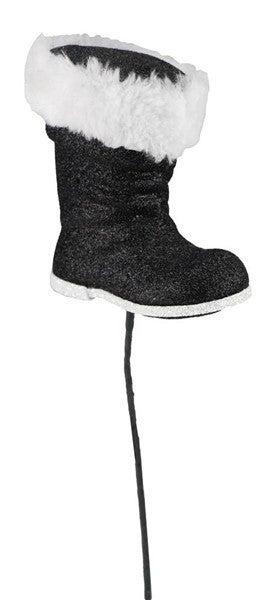 """11.5""""L Santa Boot Pick Black/white"""