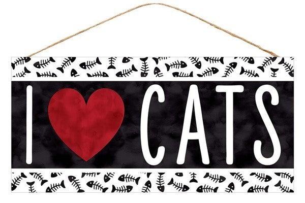 """12.5""""L X 6""""H I Heart Cats Sign"""