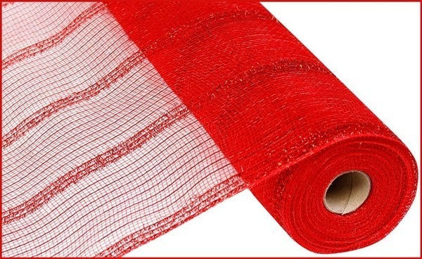 """21""""X10yd Wide Tinsel/Pp/Foil Mesh Red"""