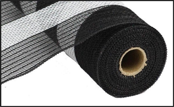 "21""X10yd Poly/Faux Jute/Cotton Stripe Black/White"