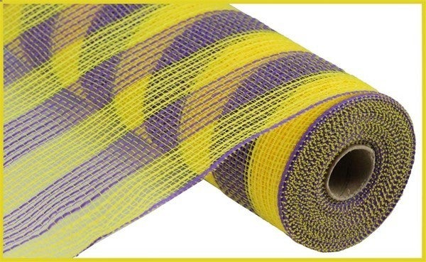 "10.5""X10YD FAUX JUTE/PP SMALL STRIPE Color: Yellow/Purple"