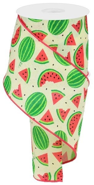 "4""X10yd Watermelon Slices On Royal Color: Yllw/Crm/Red Pnk/Grn/Blk"