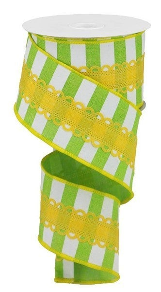 """2.5""""X10yd Royal Lace On Horiz Stripe Color: Lime Green/White"""