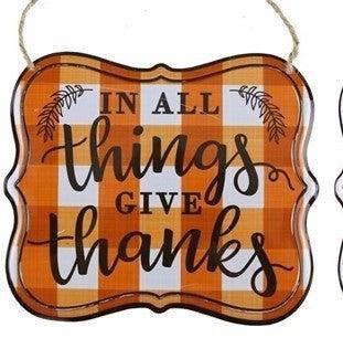 """Lx6""H Thanksgiving Tin Sign"