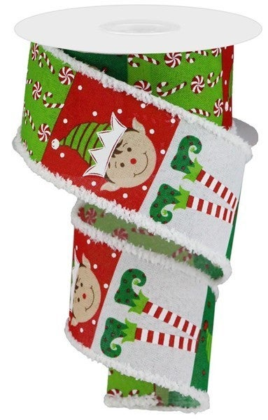 "2.5""X10yd Elf Face Pattern W/DriftColor: Wht/Red/Lime/Emerald/Brn"
