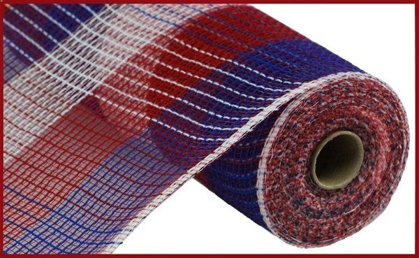 "10.5""X10yd Pp/Faux Jute Wide Check Mesh Red/White/Blue"
