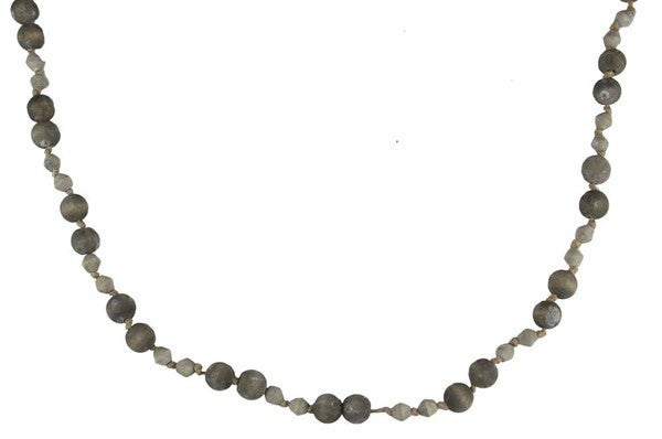 "46""L Lrg Round/Barrel Wood Bead Garland Grey Wash"
