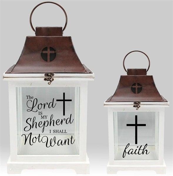 Set of 2 Lanterns Lord is my sheperd/faith