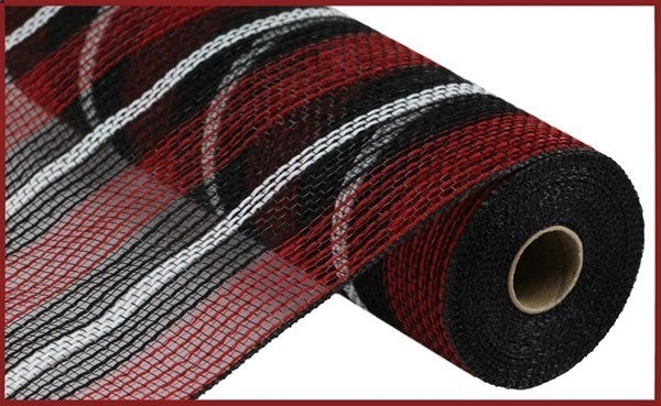 "10.5""X10yd Faux Jute/Pp Stripe Mesh Red/Black/White"